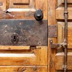 Antique hardware and deadbolt detail