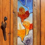 Door with hand made art glass