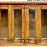 Kitchen cabinet with hand made bubble glass