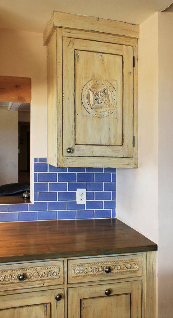 Santa Fe kitchen remodel with antique panel