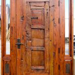 antique mesquite door with shutter with lever latch