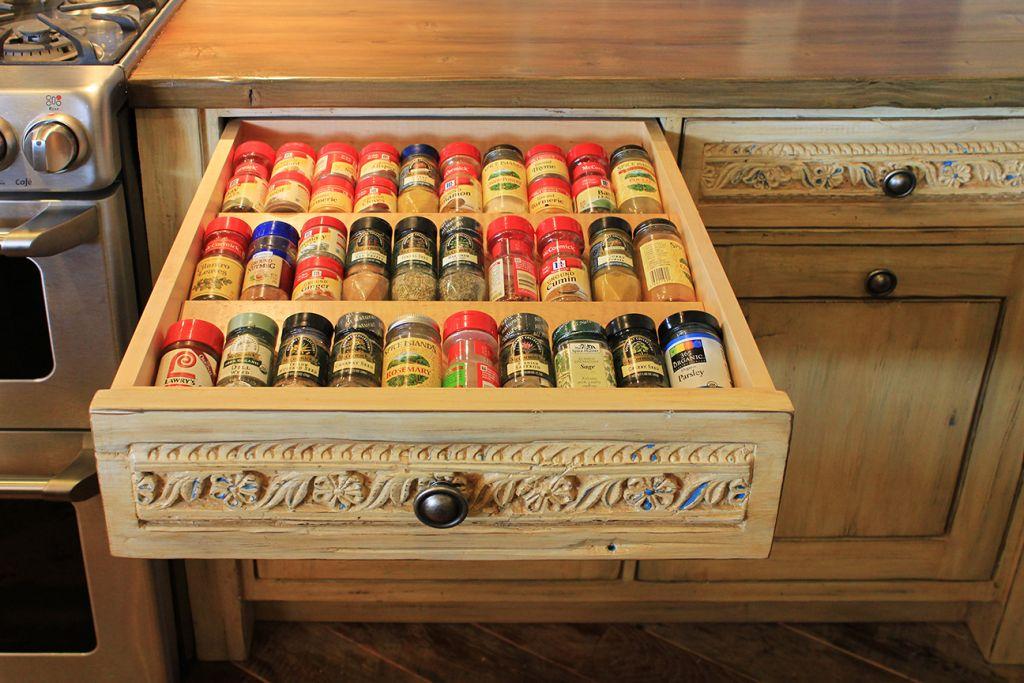 spice drawer insert in Santa Fe kitchen remodel