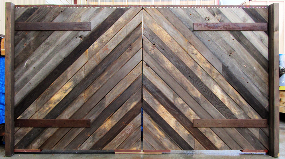 Double gates made of salvaged lumber