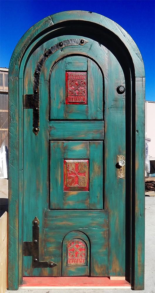 Arched bedroom door with doggie door