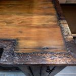 Kitchen countertop edged in salvaged tin