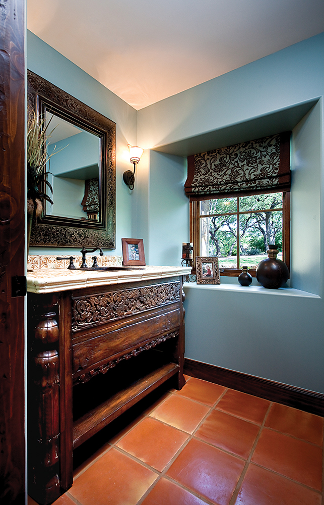 Bathroom vanity with carving