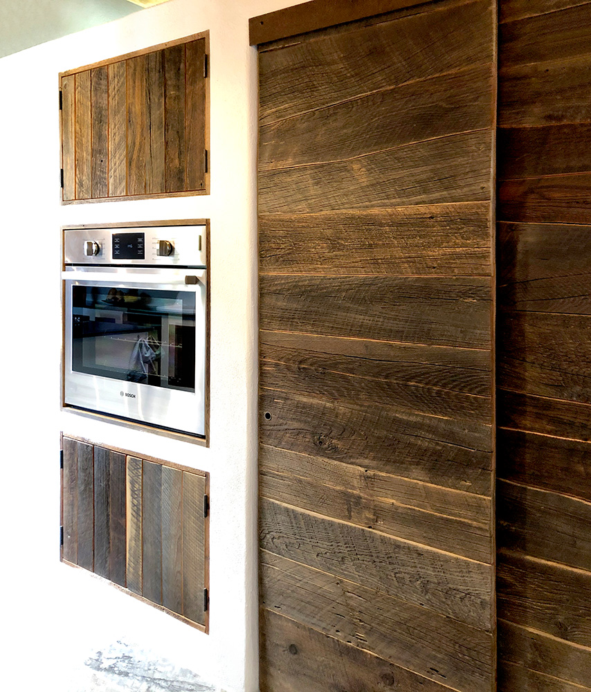 Pantry doors and oven wall cabinets