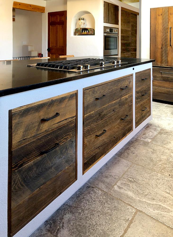 Wabi-sabi kitchen island drawers