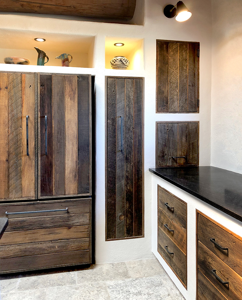Wabi-sabi kitchen design refrigerator wall cabinets