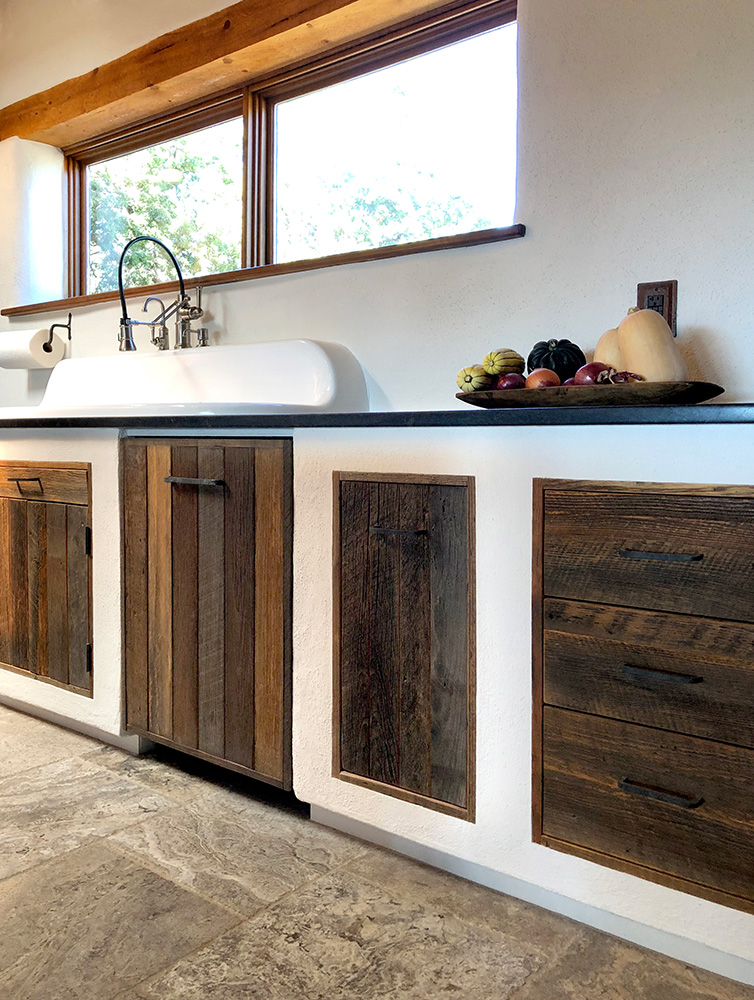 Santa Fe kitchen remodel sink wall cabinets