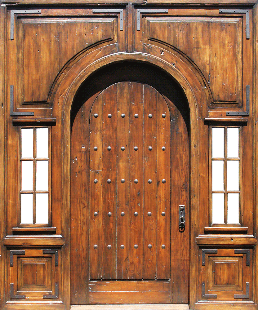 Arched door with rectangular surround