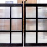 Glass & wood barn sliding doors