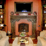fireplace mantel installed