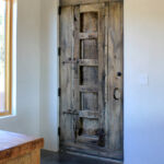 installation photo of back of rustic front entry