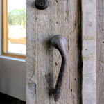 Handle detail on rustic front entry