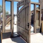 Detail of pintle-hinged door open