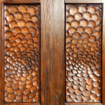 Detail of hand carved closet doors