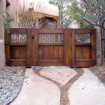 Back of installed triple panel gate