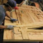 Pintle-hinged door in progress in the wood shop