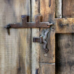 Hardware detail on rustic front entry
